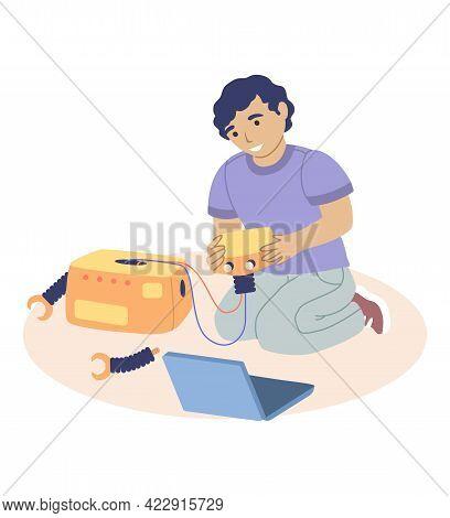Cute Boy Making Robot, Studying Robotics, Flat Vector Illustration. Kids Robotics Engineering, Robot