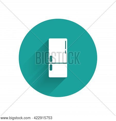 White Refrigerator Icon Isolated With Long Shadow. Fridge Freezer Refrigerator. Household Tech And A