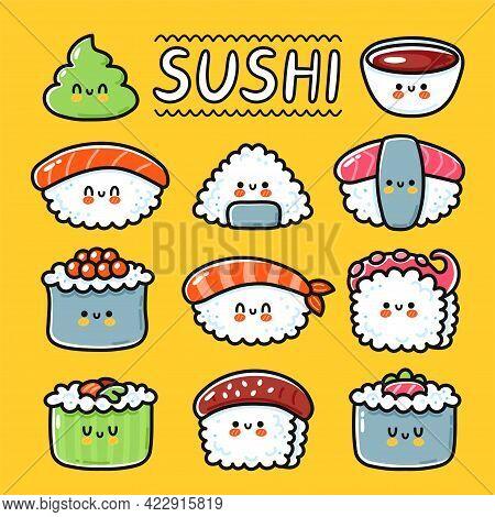 Cute Funny Happy Sushi, Maki, Rolls Cartoon Character Set Collection. Vector Hand Drawn Line Kawaii