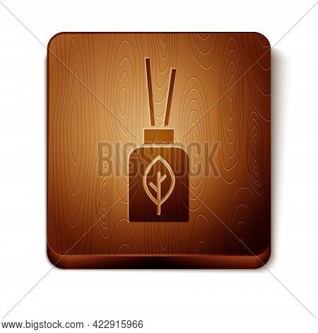 Brown Aroma Diffuser Icon Isolated On White Background. Glass Jar Different With Wooden Aroma Sticks