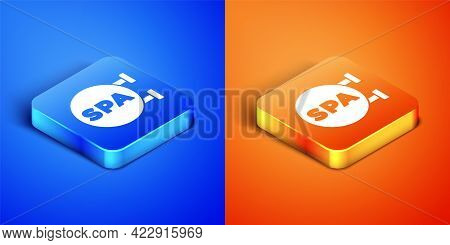 Isometric Spa Salon Icon Isolated On Blue And Orange Background. Concept For Beauty Salon, Massage,