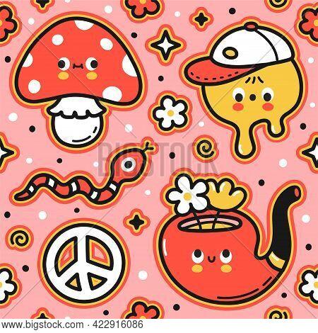 Cute Funny Trippy Seamless Pattern. Vector Flat Cartoon Kawaii Character Illustration Icon Design. T