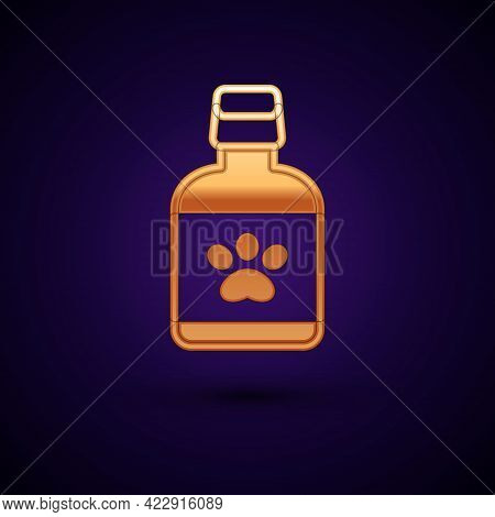Gold Dog Medicine Bottle Icon Isolated On Black Background. Container With Pills. Prescription Medic
