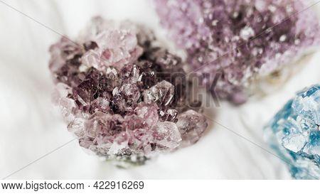 Closeup of Amethyst healing crystal
