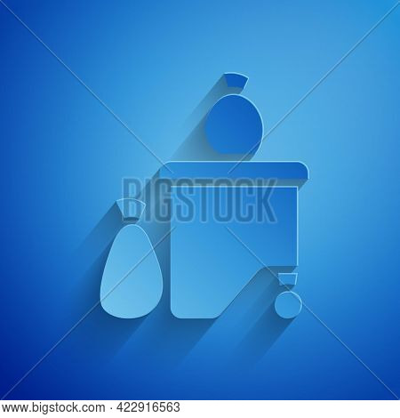 Paper Cut Dumpsters Being Full With Garbage Icon Isolated On Blue Background. Garbage Is Pile Lots D
