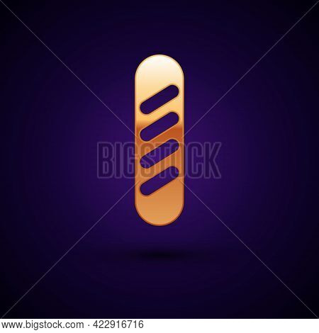Gold French Baguette Bread Icon Isolated On Black Background. Vector