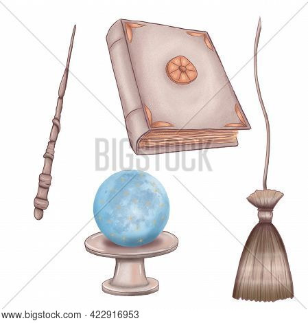 Magical Items, Spellbook, Broomstick, Magic Wand, Crystal Ball, Magic Ball, Withc And Wizard Supplie