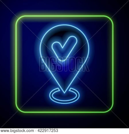 Glowing Neon Map Pin With Check Mark Icon Isolated On Blue Background. Navigation, Pointer, Location