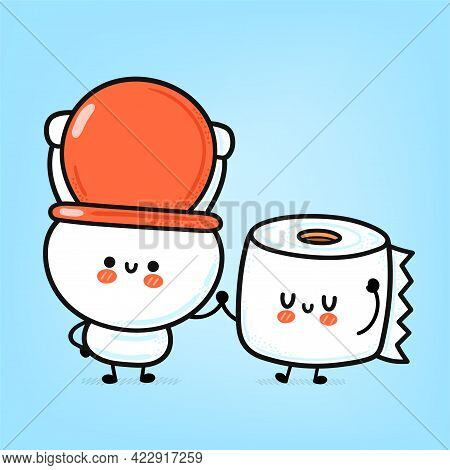 Cute Funny Happy White Toilet Bowl And Paper Roll. Vector Hand Drawn Cartoon Kawaii Character Illust