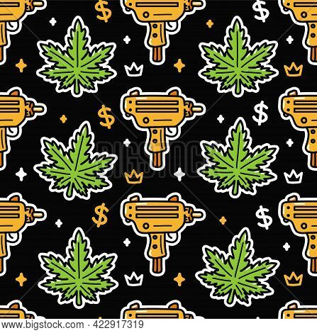 Weed Leafs And Gold Submachine Gun Seamless Pattern. Vector Cartoon Illustration Icon Design. Cannab