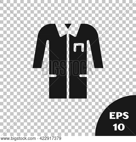 Black Laboratory Uniform Icon Isolated On Transparent Background. Gown For Pharmaceutical Research W