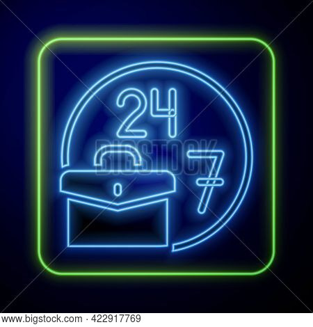Glowing Neon Always Busy Icon Isolated On Blue Background. Vector
