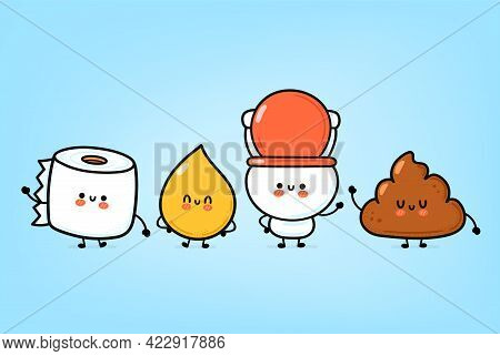 Cute Funny Happy White Toilet Bowl, Paper Roll, Urine Drop And Poop Set. Vector Hand Drawn Cartoon K
