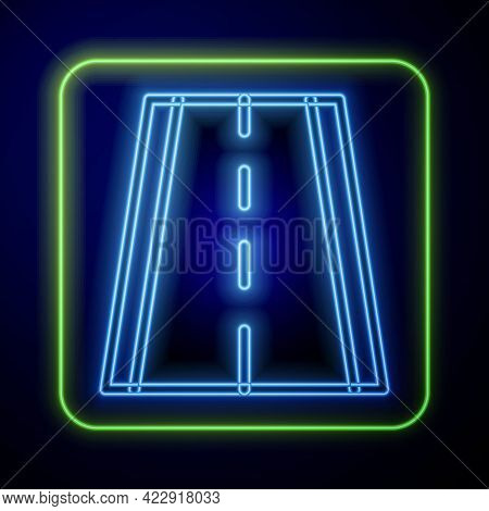 Glowing Neon Special Bicycle Ride On The Bicycle Lane Icon Isolated On Blue Background. Vector