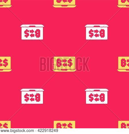 Yellow Cryptocurrency Exchange Icon Isolated Seamless Pattern On Red Background. Bitcoin To Dollar E