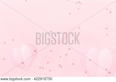 Heart confetti pattern on a flamingo pink background