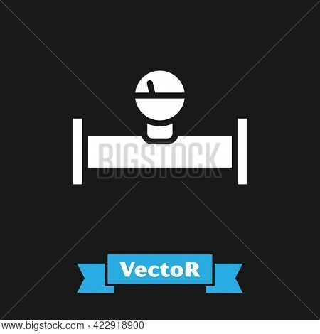 White Industry Metallic Pipe And Manometer Icon Isolated On Black Background. Vector