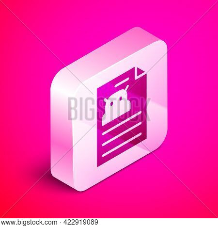 Isometric Technical Specification Icon Isolated On Pink Background. Technical Support Check List, Te