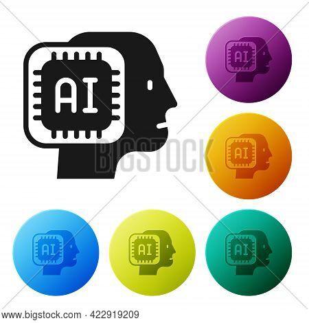 Black Humanoid Robot Icon Isolated On White Background. Artificial Intelligence, Machine Learning, C