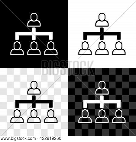 Set Business Hierarchy Organogram Chart Infographics Icon Isolated On Black And White, Transparent B