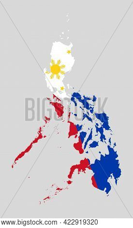 Vector Asia Map Philippines Made Country Flag