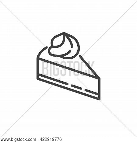 Cheesecake Slice Line Icon. Linear Style Sign For Mobile Concept And Web Design. Slice Of Cake Outli