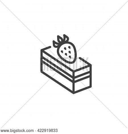 Piece Of Strawberry Cake Line Icon. Linear Style Sign For Mobile Concept And Web Design. Dessert Cak
