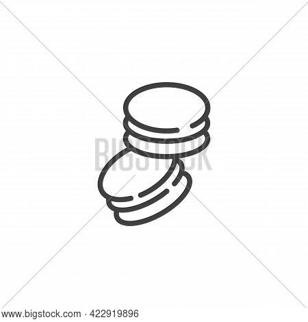 Macaron Cake Line Icon. Linear Style Sign For Mobile Concept And Web Design. French Macaroon Outline