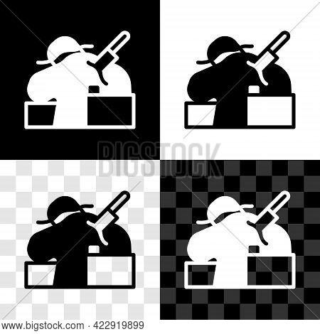 Set Murder Icon Isolated On Black And White, Transparent Background. Body, Bleeding, Corpse, Bleedin