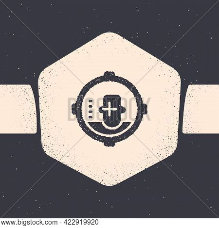 Grunge Headshot Icon Isolated On Grey Background. Sniper And Marksman Is Shooting On The Head Of Man