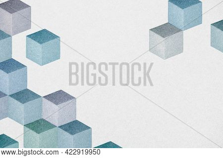 Blue cubic patterned geometric background