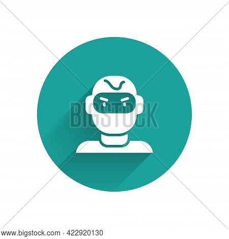 White Thief Mask Icon Isolated With Long Shadow. Bandit Mask, Criminal Man. Green Circle Button. Vec