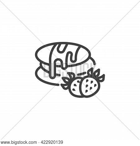 Pancakes With Chocolate And Strawberry Line Icon. Linear Style Sign For Mobile Concept And Web Desig