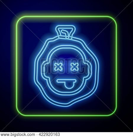 Glowing Neon Murder Icon Isolated On Blue Background. Body, Bleeding, Corpse, Bleeding Icon. Dead He
