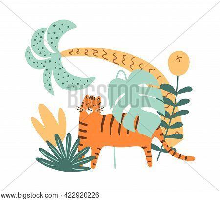 Tiger Jungle, Tiger Safari, Tropical Exotic Palm Leaves. Jungle Animal Predator In Cute Hand Drawn S