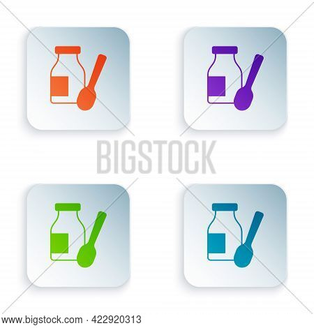 Color Drinking Yogurt In Bottle With Spoon Icon Isolated On White Background. Set Colorful Icons In