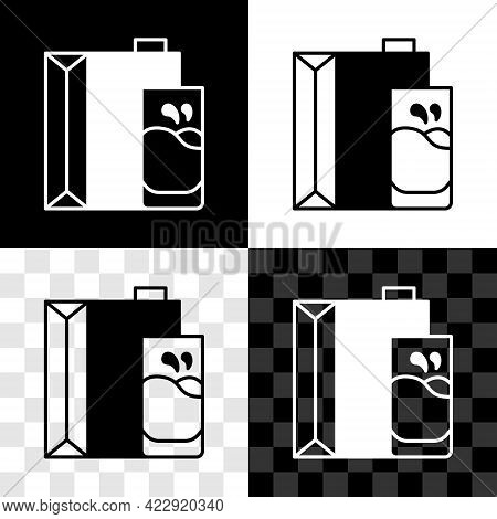 Set Paper Package For Milk And Glass Icon Isolated On Black And White, Transparent Background. Milk