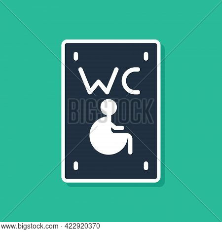 Blue Separated Toilet For Disabled Persons Icon Isolated On Green Background. Handicapped Accessible