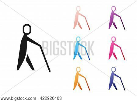 Black Blind Human Holding Stick Icon Isolated On White Background. Disabled Human With Blindness. Se