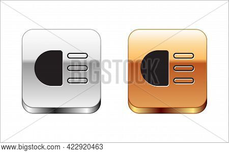 Black High Beam Icon Isolated On White Background. Car Headlight. Silver And Gold Square Buttons. Ve