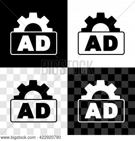 Set Advertising Icon Isolated On Black And White, Transparent Background. Concept Of Marketing And P
