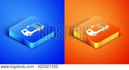 Isometric Tanker Truck Icon Isolated On Blue And Orange Background. Petroleum Tanker, Petrol Truck,