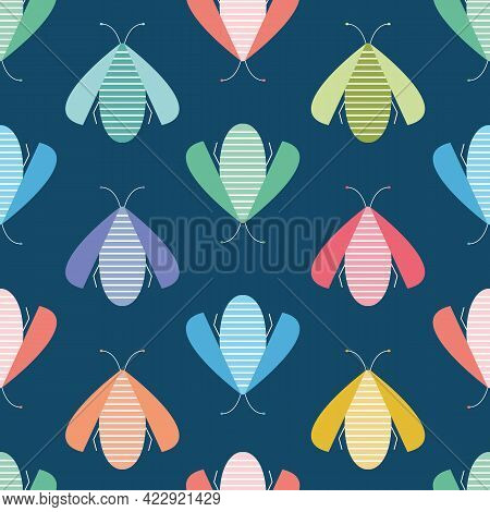 Bug Vector Background Design. Bright And Colourful Insect Seamless Repeat Pattern. Wildlife Illustra