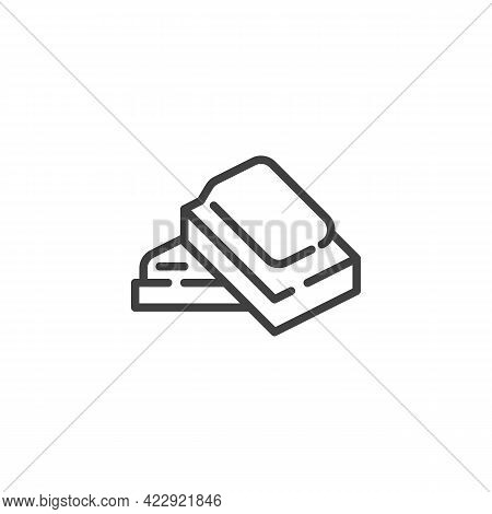 Chocolate Pieces Line Icon. Linear Style Sign For Mobile Concept And Web Design. Square Piece Of Cho