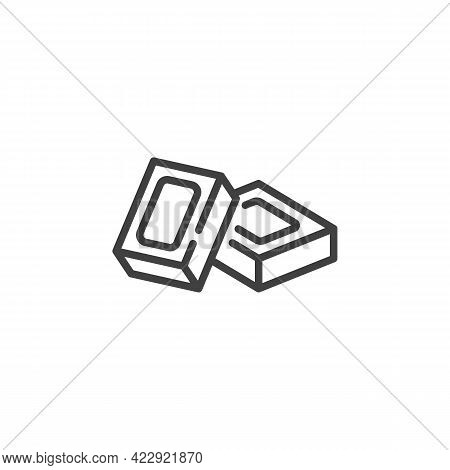 Square Piece Of Chocolate Bar Line Icon. Linear Style Sign For Mobile Concept And Web Design. Chocol