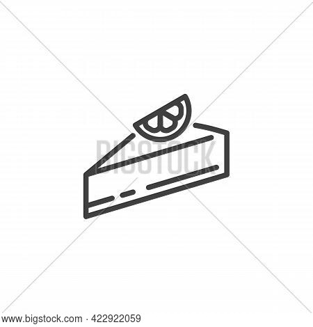 Chocolate Cheesecake Line Icon. Linear Style Sign For Mobile Concept And Web Design. Piece Of Cake W
