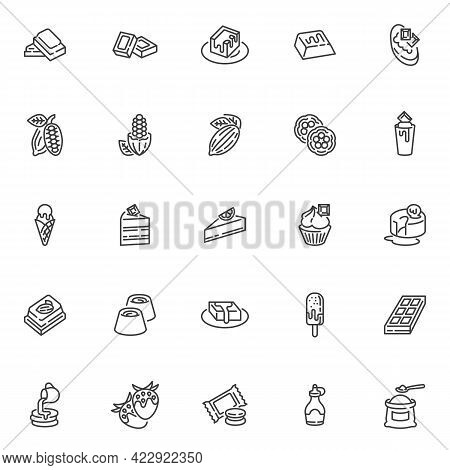 Chocolate And Cocoa Line Icons Set. Linear Style Symbols Collection, Outline Signs Pack. Confectione