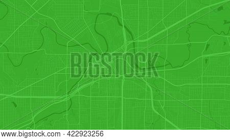 Green Fort Worth City Area Vector Background Map, Streets And Water Cartography Illustration. Widesc