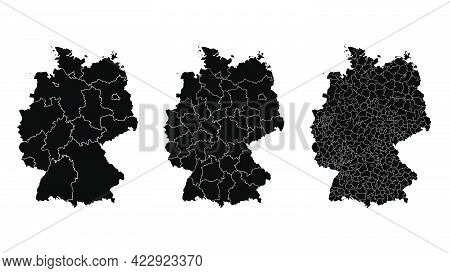 Germany Map Municipal, Region, State Division. Administrative Borders, Outline Black On White Backgr