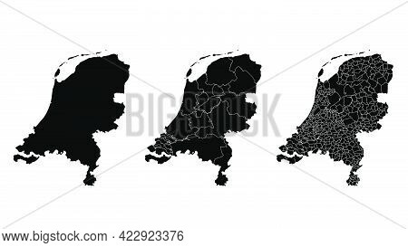 Netherlands Map Municipal, Region, State Division. Administrative Borders, Outline Black On White Ba